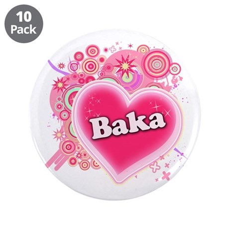 "Baka Heart Art 3.5"" Button (10 pack)"