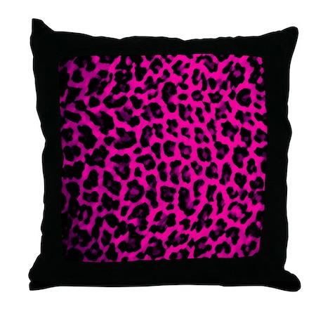 Hot Pink Leopard Print Throw Pillow