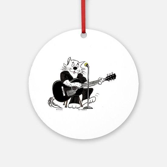 Accoustic Guitar Cat Ornament (Round)