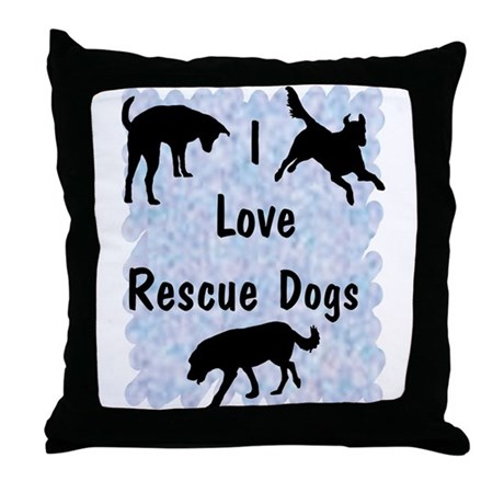 I Love Rescue Dogs (blue) Throw Pillow