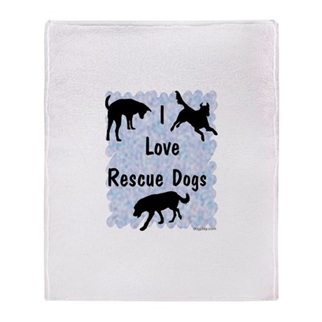 I Love Rescue Dogs (blue) Throw Blanket