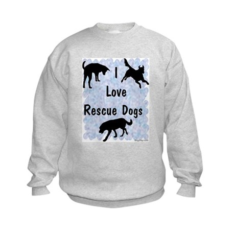 I Love Rescue Dogs (blue) Kids Sweatshirt