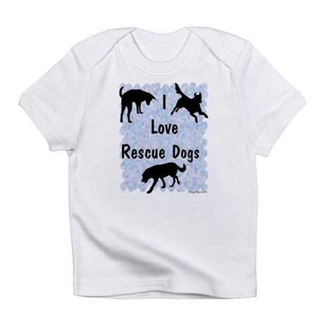 I Love Rescue Dogs (blue) Infant T-Shirt
