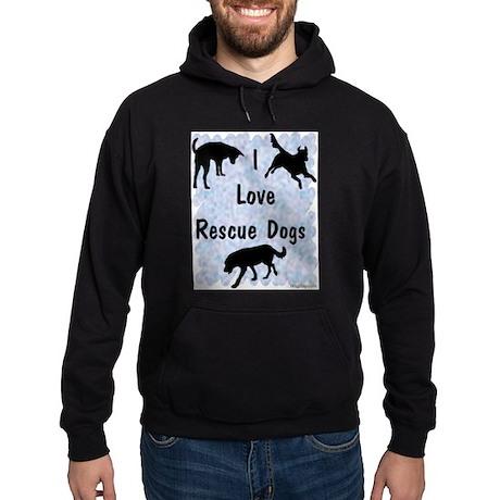 I Love Rescue Dogs (blue) Hoodie (dark)