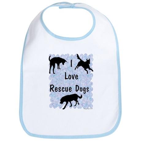 I Love Rescue Dogs (blue) Bib