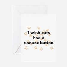 Cats Snooze Button Greeting Cards (Pk of 10)