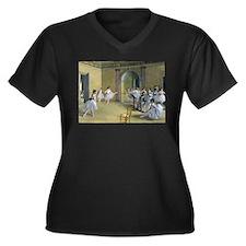 Cute Ballet dancer Women's Plus Size V-Neck Dark T-Shirt