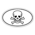 Skull & Crossbones Oval Sticker (Oval 10 pk)