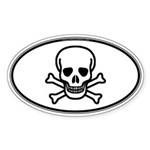 Skull & Crossbones Oval Sticker (Oval 50 pk)