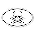 Skull & Crossbones Oval Sticker (Oval 50 pk)