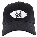 Skull & Crossbones Oval Black Cap