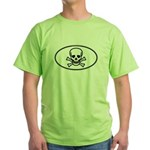 Skull & Crossbones Oval Green T-Shirt