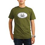 Skull & Crossbones Oval Organic Men's T-Shirt (dar