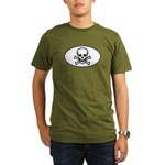 Skull & Crossbones Oval Organic Men's T-Shirt (dar