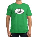 Skull & Crossbones Oval Men's Fitted T-Shirt (dark