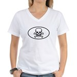 Skull & Crossbones Oval Women's V-Neck T-Shirt
