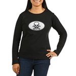 Skull & Crossbones Oval Women's Long Sleeve Dark T