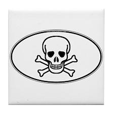 Skull & Crossbones Oval Tile Coaster