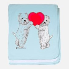Westies with Heart baby blanket