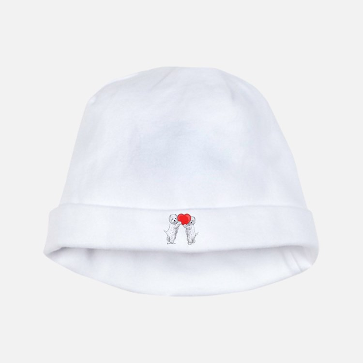 Westies with Heart baby hat