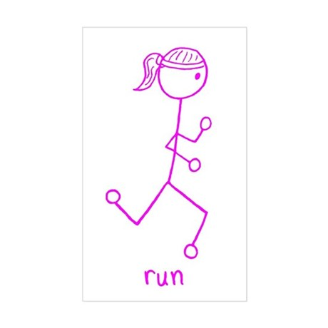 Pink Running Girl w/ Words Sticker (Rectangle)