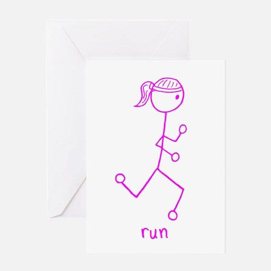 Pink Running Girl w/ Words Greeting Card