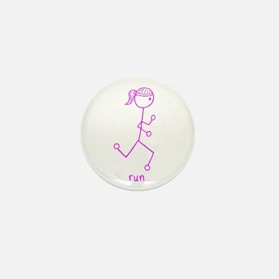Pink Running Girl w/ Words Mini Button