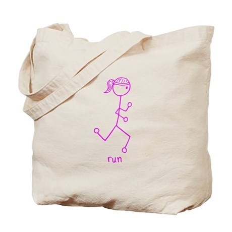Pink Running Girl w/ Words Tote Bag