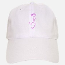 Pink Running Girl w/ Words Baseball Baseball Cap
