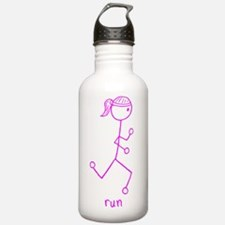 Pink Running Girl w/ Words Water Bottle