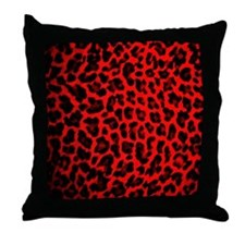 Red & Black Leopard Print Throw Pillow
