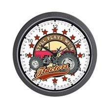 Plays with Tractors Red Wall Clock