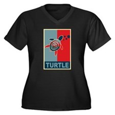 Turtle Hope Women's Plus Size V-Neck Dark T-Shirt