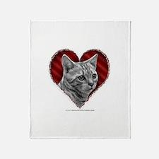 Bengal Cat Heart Throw Blanket