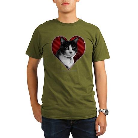 Tuxedo Cat Heart Organic Men's T-Shirt (dark)