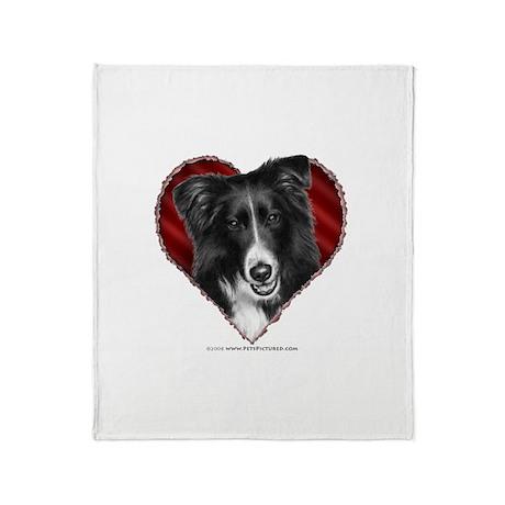 Border Collie Valentine Throw Blanket