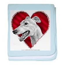 Greyhound Valentine baby blanket