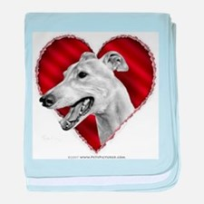 Greyhound Valentine baby blanket
