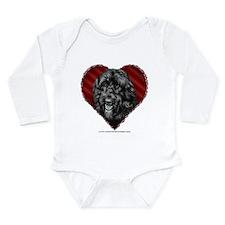 Black Labradoodle Valentine Long Sleeve Infant Bod