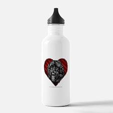 Black Labradoodle Valentine Water Bottle