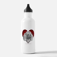 White Poodle Valentine Water Bottle