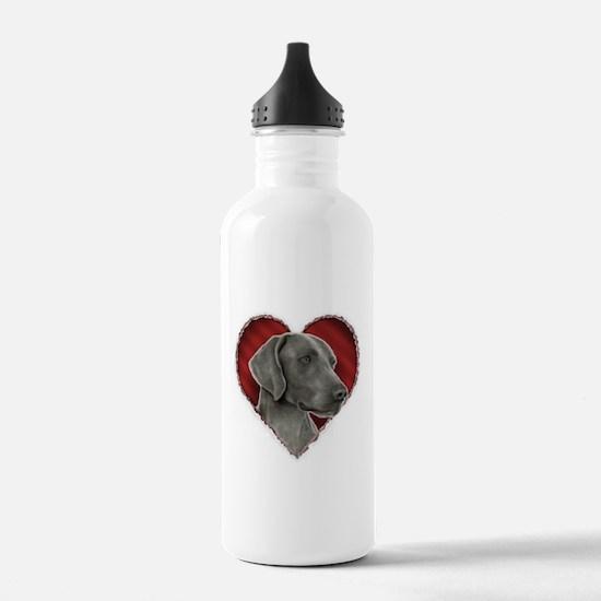 Weimeraner Valentine Sports Water Bottle