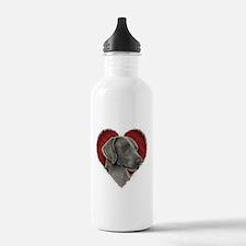 Weimeraner Valentine Water Bottle