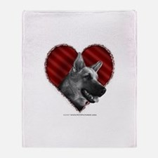 German Shepherd Heart Throw Blanket