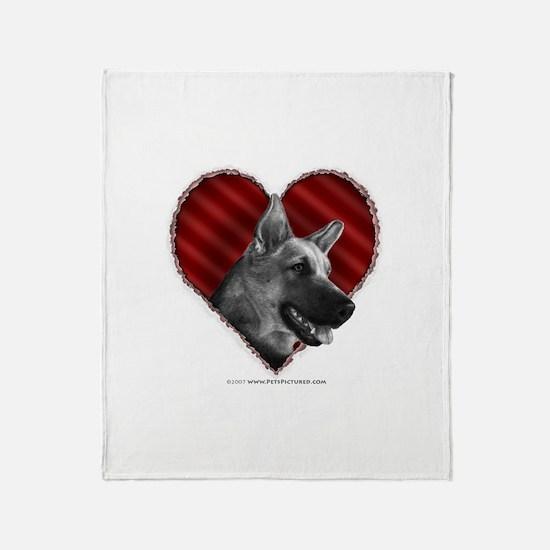 German Shepherd Heart Throw Blanket