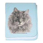 TG, Long-Haired Gray Cat baby blanket