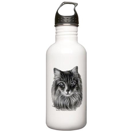 Long-Haired Gray Cat Stainless Water Bottle 1.0L