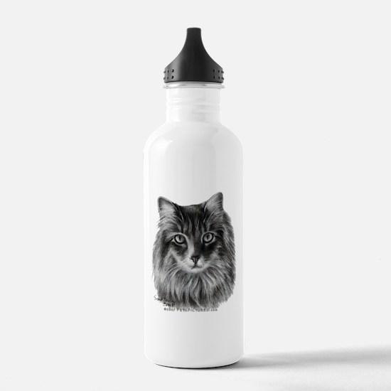 Long-Haired Gray Cat Water Bottle