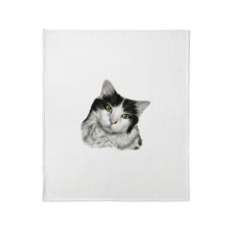 Pierre, Black & White Cat Throw Blanket