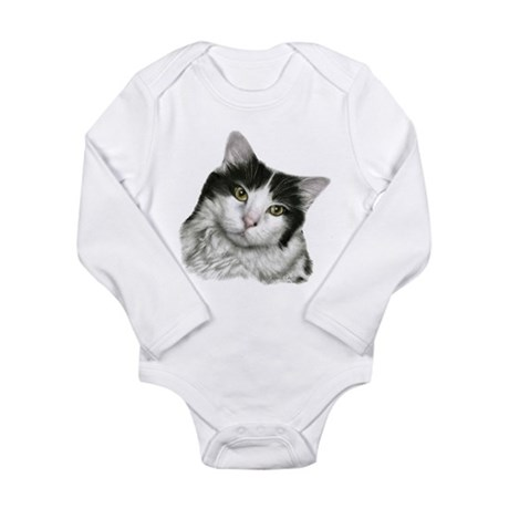 Pierre, Black & White Cat Long Sleeve Infant Bodys